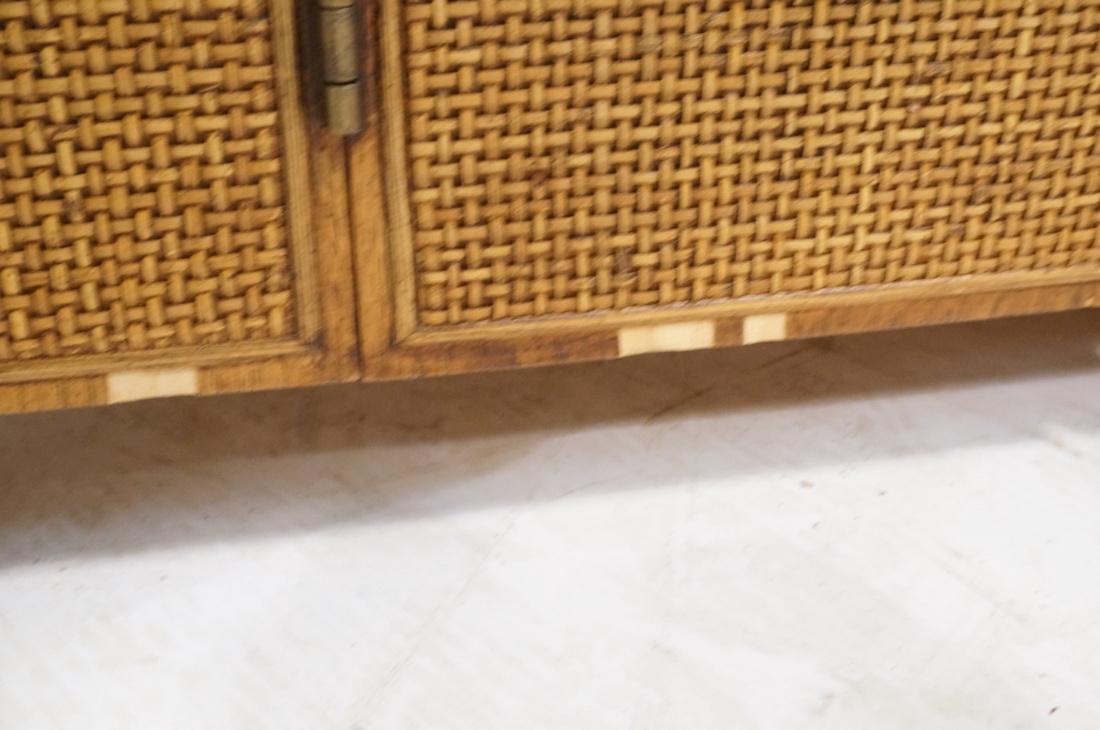 Modern Fruitwood Woven Door Rolling Cabinet. Two - 8