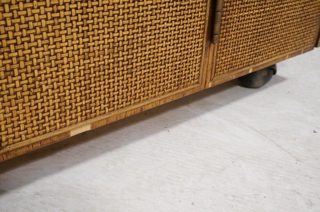 Modern Fruitwood Woven Door Rolling Cabinet. Two - 9