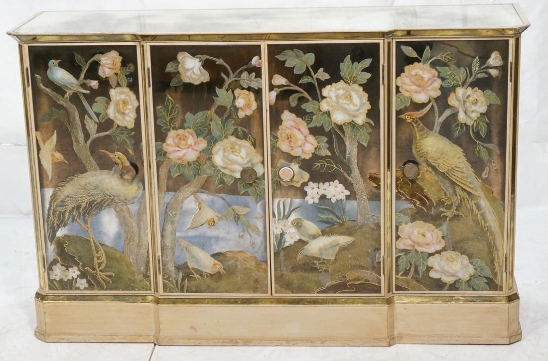 Decorator Eglomise Four Door Mirrored Cabinet. Cr