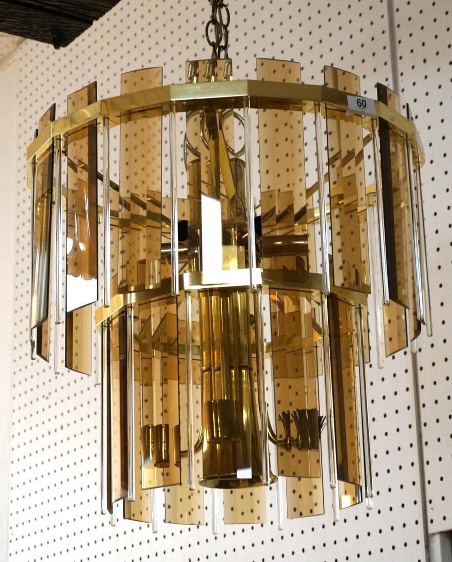 Modernist Glass Hanging Light Chandelier. Two lev