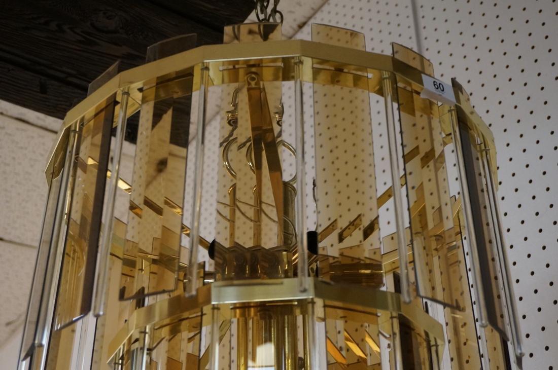Modernist Glass Hanging Light Chandelier. Two lev - 2