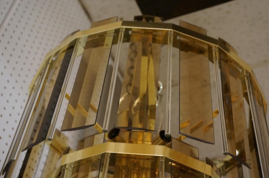 Modernist Glass Hanging Light Chandelier. Two lev - 5