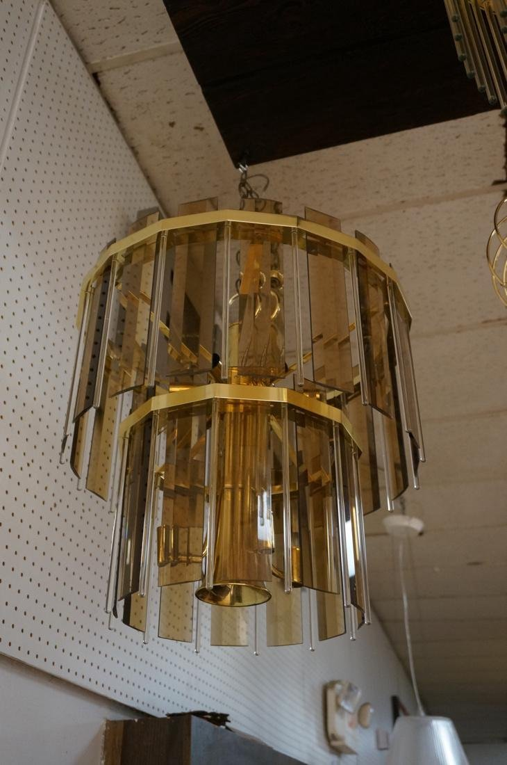 Modernist Glass Hanging Light Chandelier. Two lev - 6