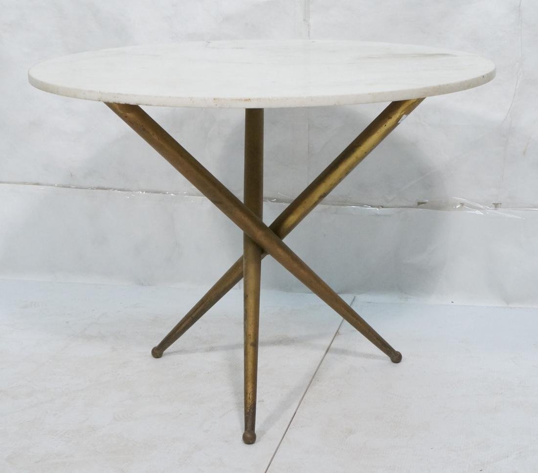 Italian Ponti Style Round Marble Top Dining Table