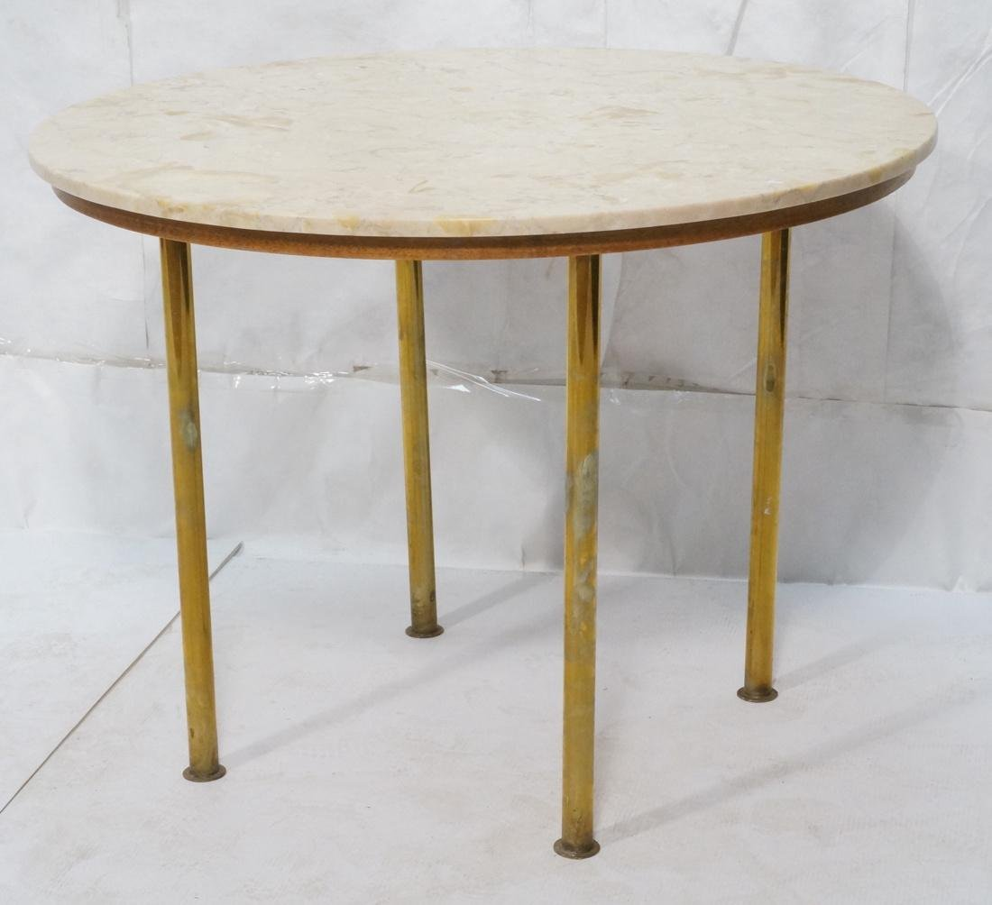 Round Marble Top Dinette Dining Table. 4 Solid Br