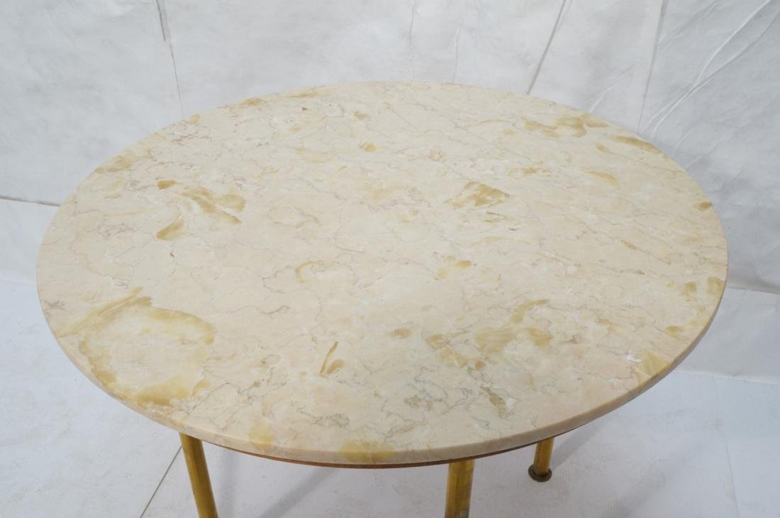 Round Marble Top Dinette Dining Table. 4 Solid Br - 2