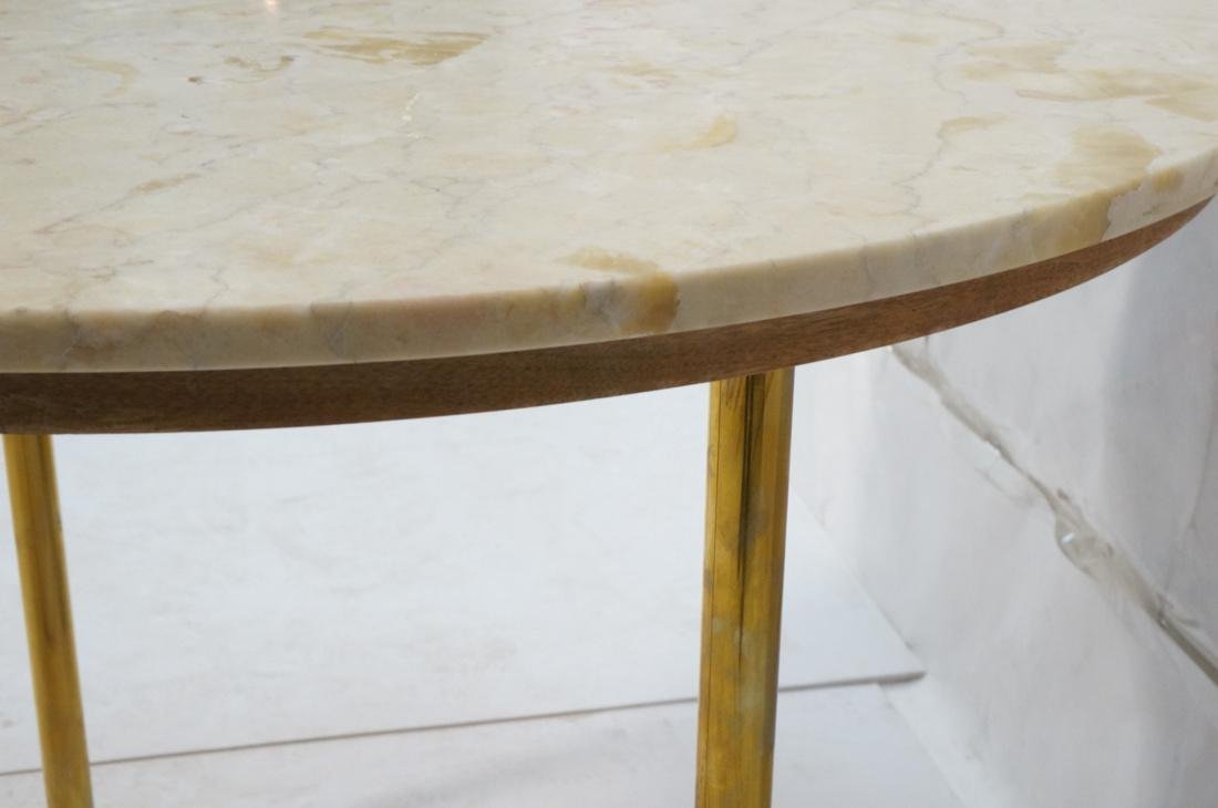 Round Marble Top Dinette Dining Table. 4 Solid Br - 8