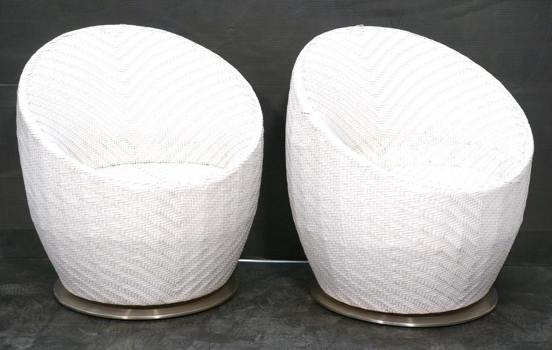 Pr White FRONTGATE Swivel Lounge Chairs. SALIMA m