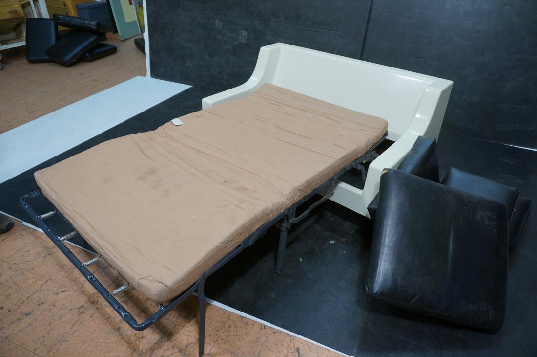 80's Modernist Fiberglass Love Seat SofaBed. Whit - 7