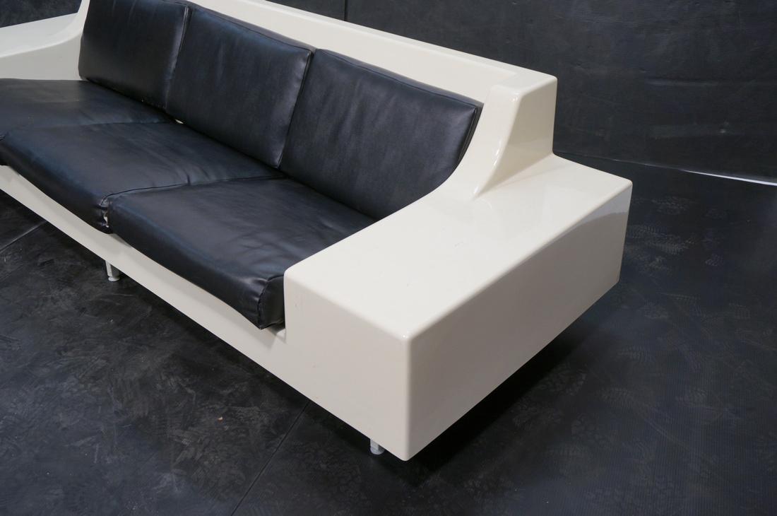 80's Modernist Fiberglass Couch. White Molded Fib - 2