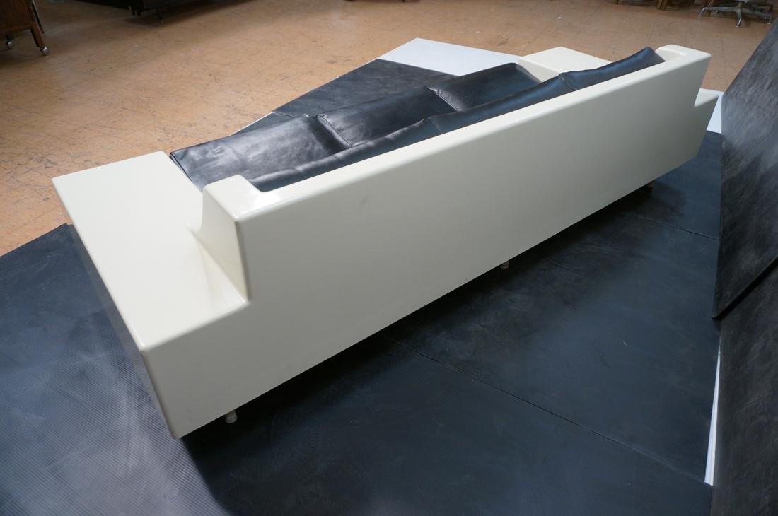 80's Modernist Fiberglass Couch. White Molded Fib - 4