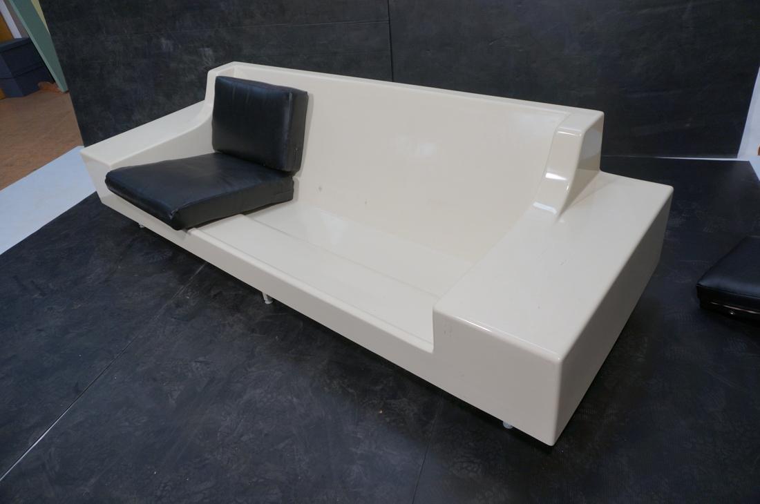 80's Modernist Fiberglass Couch. White Molded Fib - 6