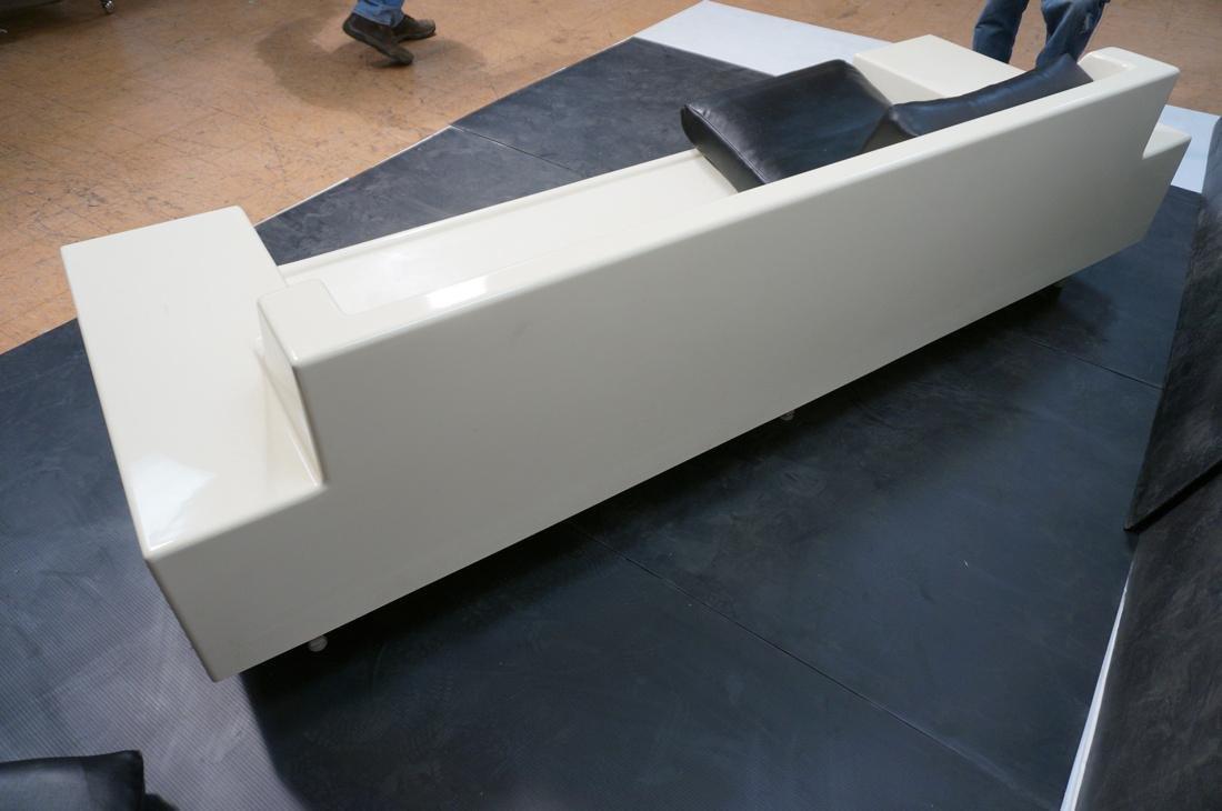80's Modernist Fiberglass Couch. White Molded Fib - 8