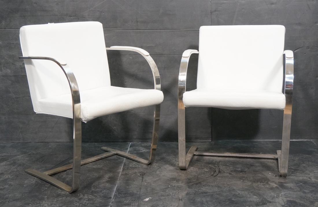Pr BRNO Style Chrome Frame Lounge Chairs. White V