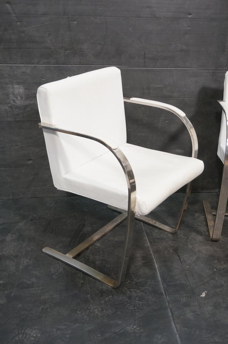 Pr BRNO Style Chrome Frame Lounge Chairs. White V - 2
