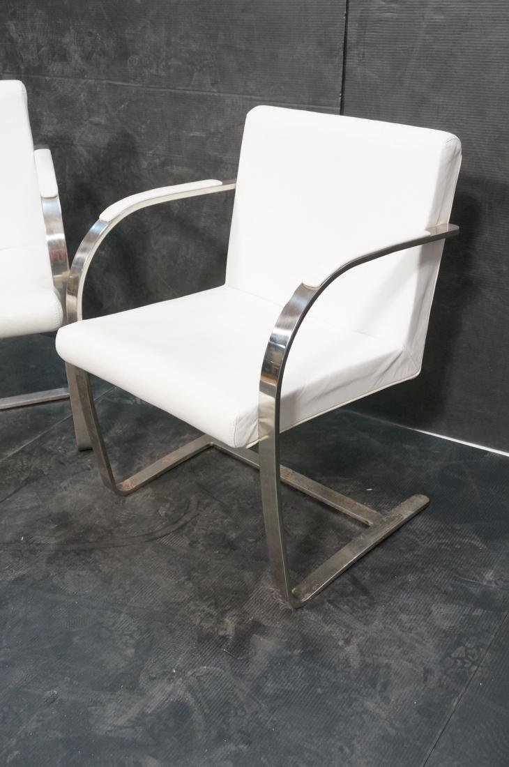 Pr BRNO Style Chrome Frame Lounge Chairs. White V - 3