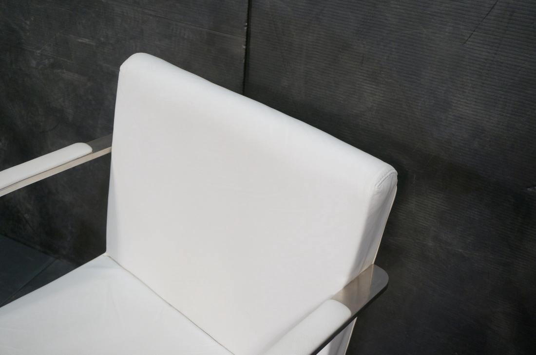 Pr BRNO Style Chrome Frame Lounge Chairs. White V - 4