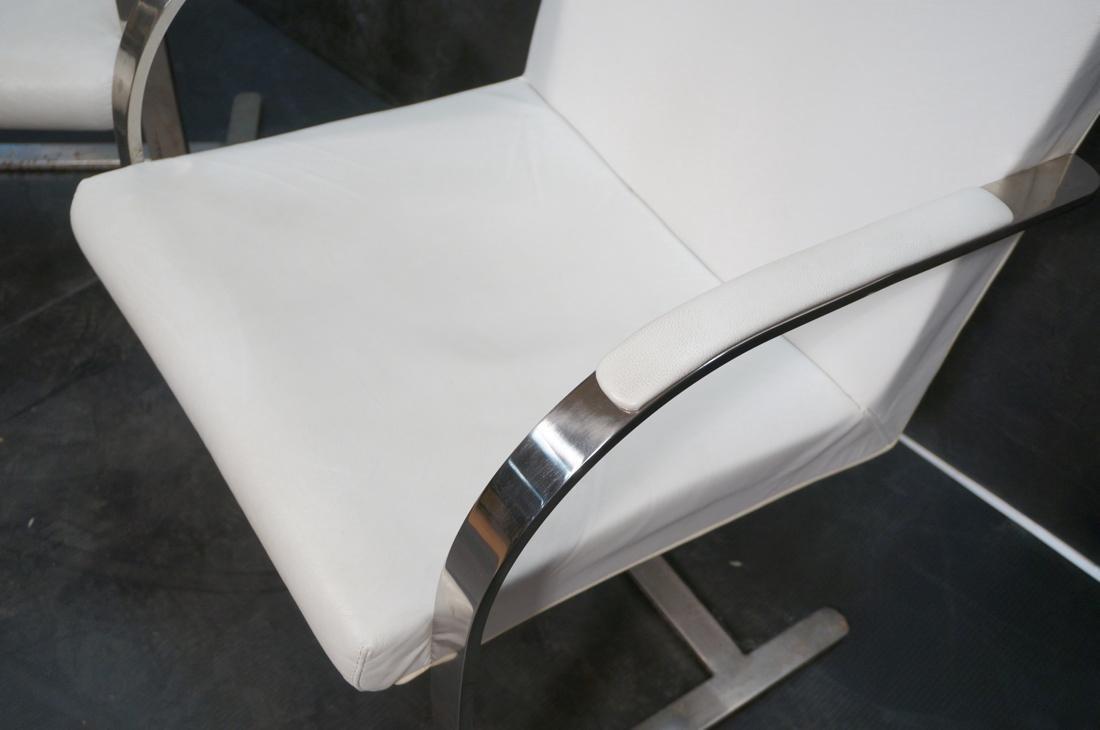 Pr BRNO Style Chrome Frame Lounge Chairs. White V - 5