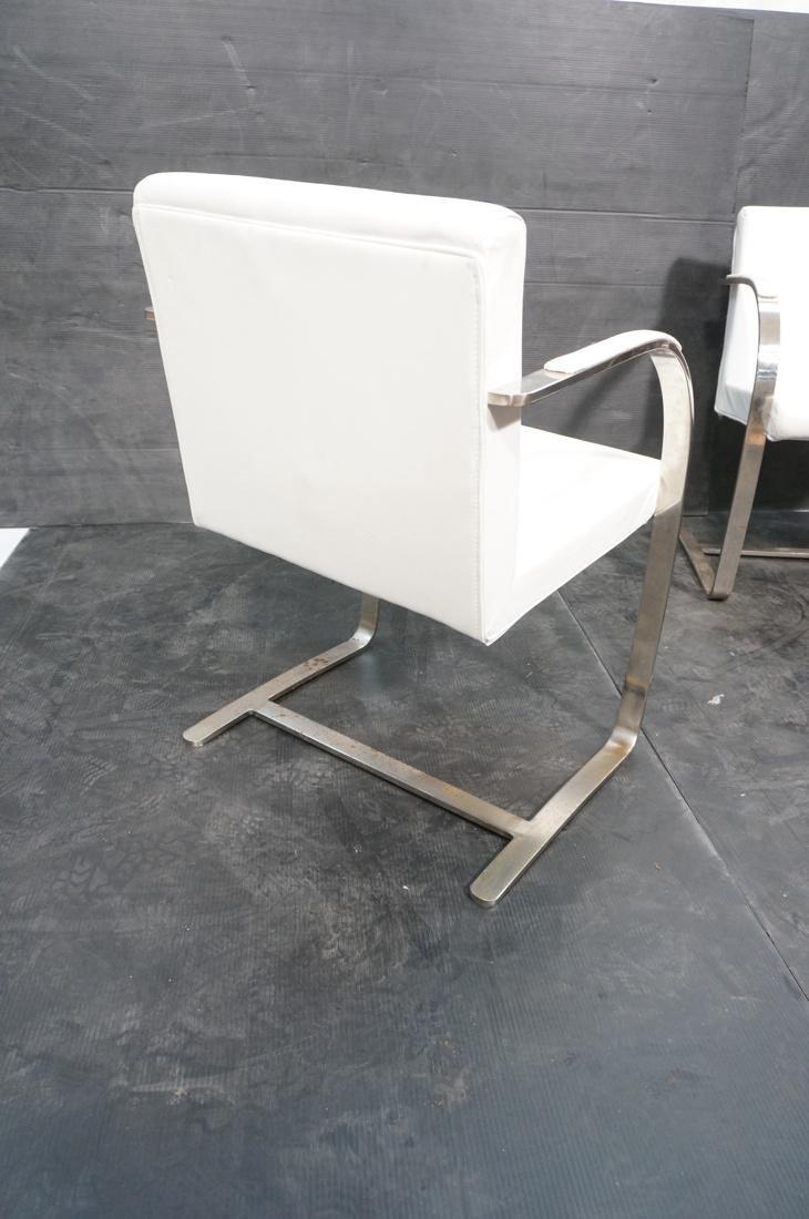 Pr BRNO Style Chrome Frame Lounge Chairs. White V - 7