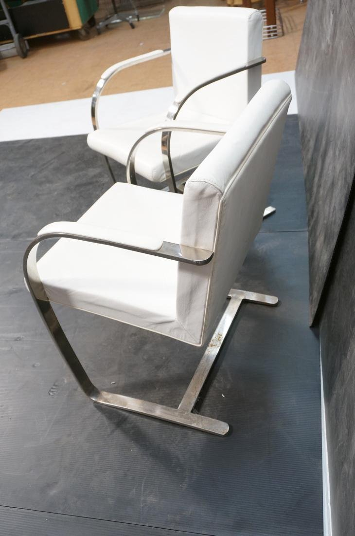 Pr BRNO Style Chrome Frame Lounge Chairs. White V - 8