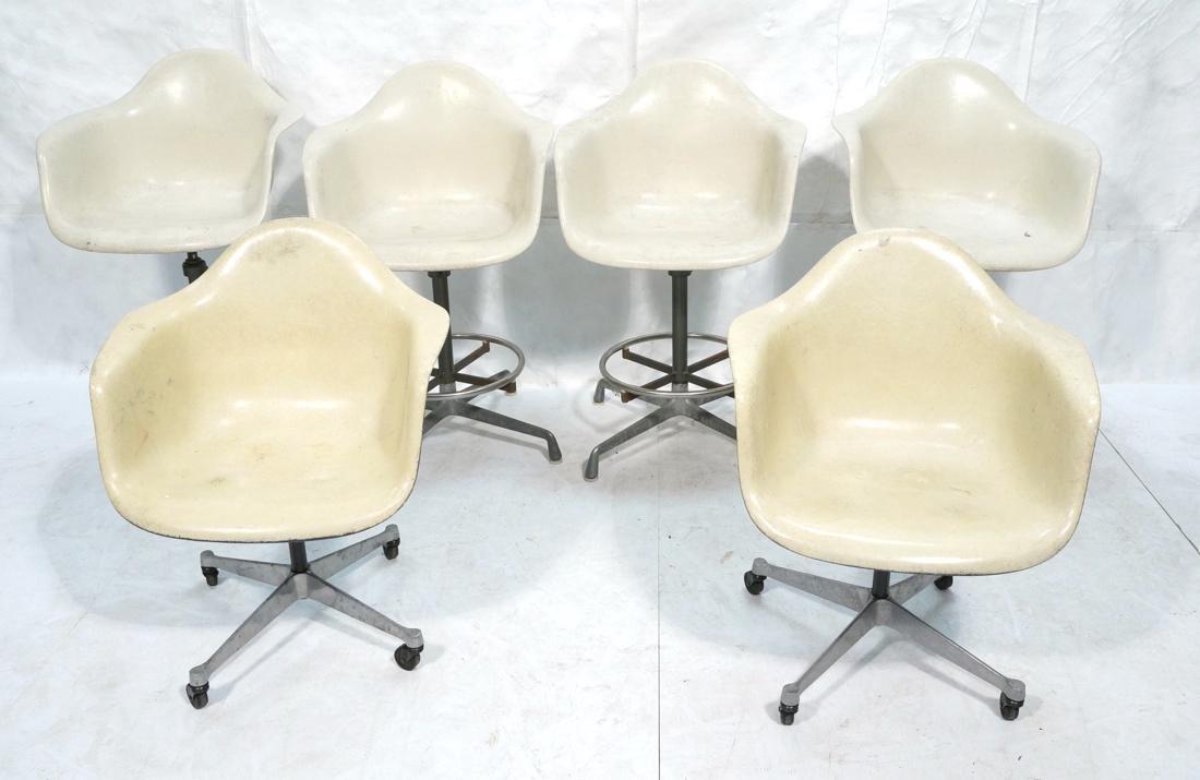 6pc HERMAN MILLER Fiberglass Shell Chairs. Four T