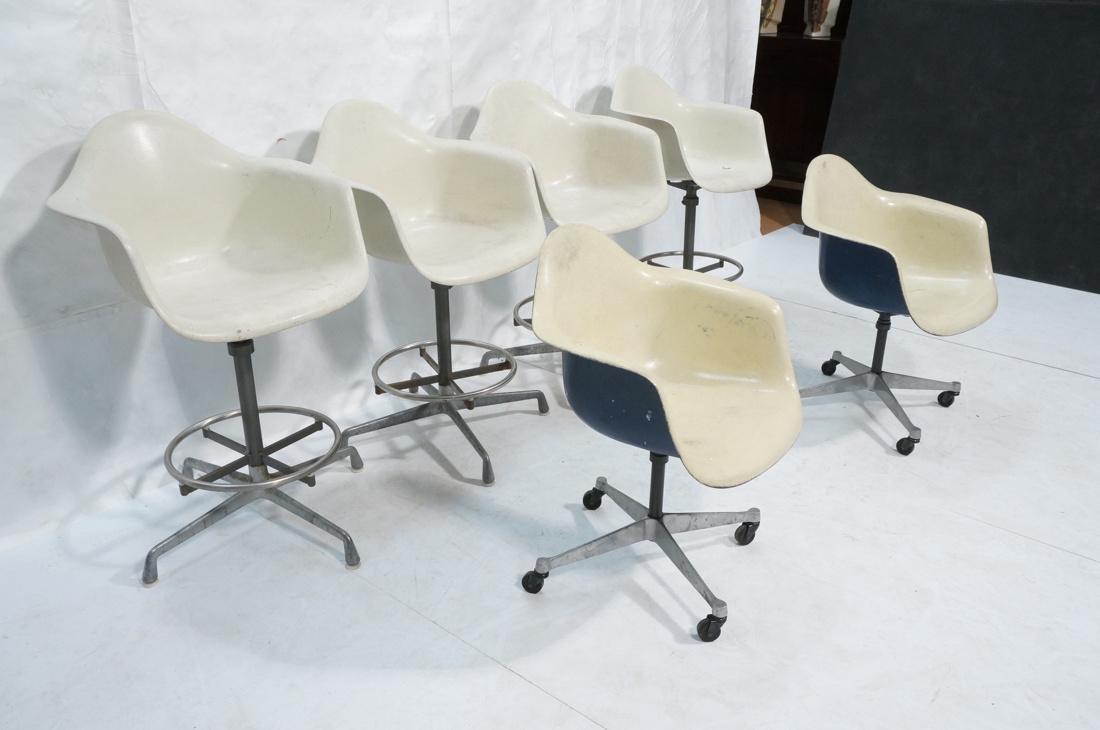 6pc HERMAN MILLER Fiberglass Shell Chairs. Four T - 2