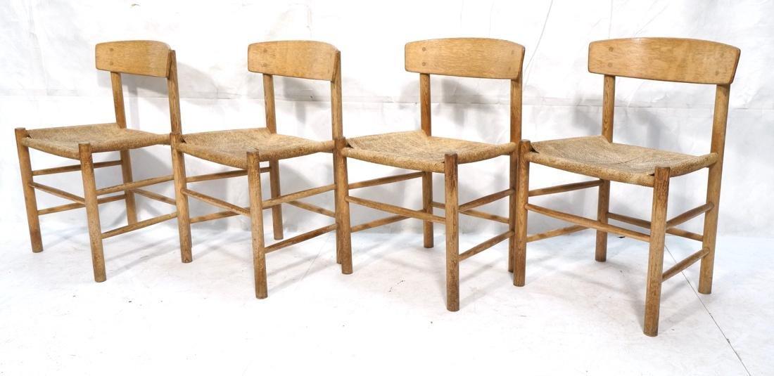 4pc BORGE MOGENSEN Oak Modern Dining Chairs. Curv