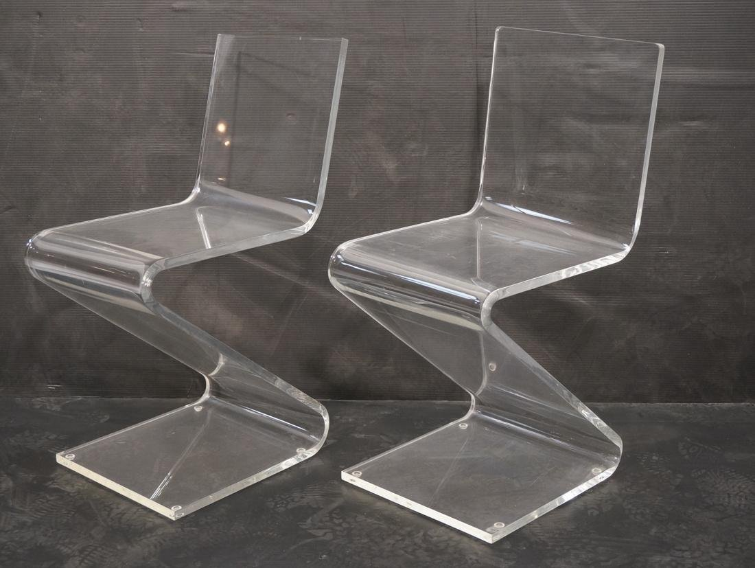 """2pc Modernist Clear Lucite """"Z"""" Chairs."""