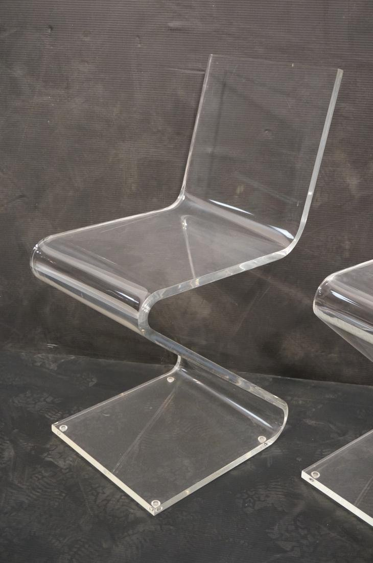 """2pc Modernist Clear Lucite """"Z"""" Chairs. - 2"""