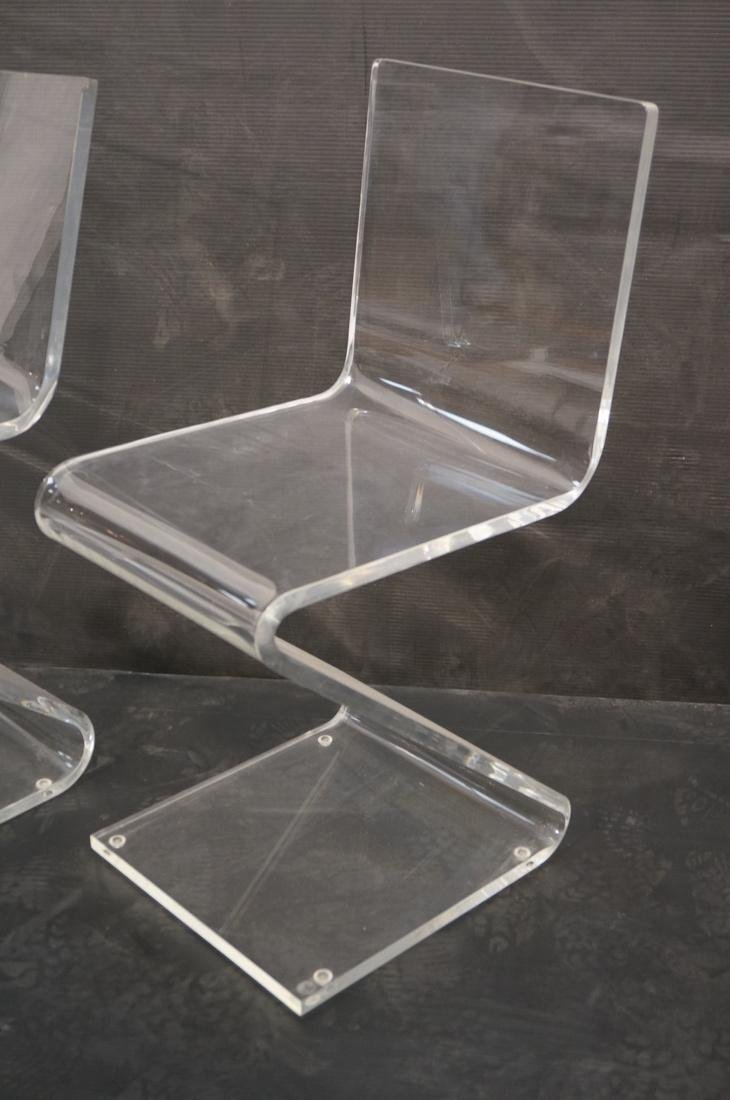 """2pc Modernist Clear Lucite """"Z"""" Chairs. - 3"""