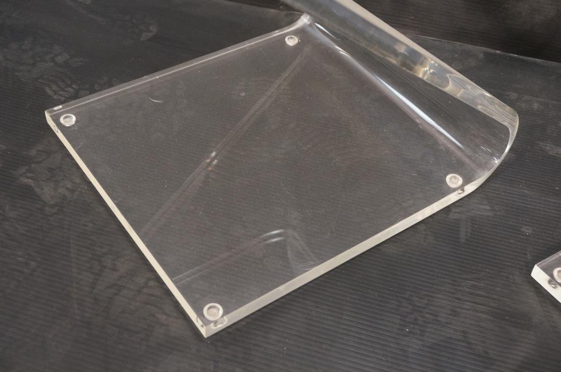 """2pc Modernist Clear Lucite """"Z"""" Chairs. - 4"""