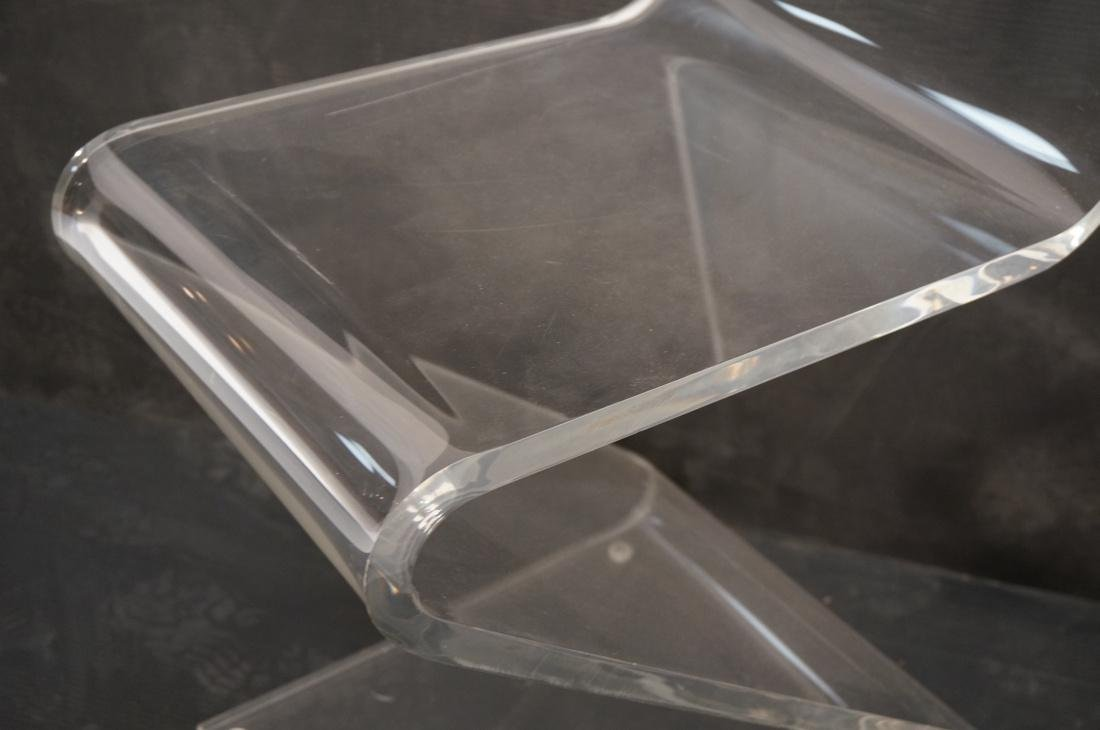 """2pc Modernist Clear Lucite """"Z"""" Chairs. - 5"""