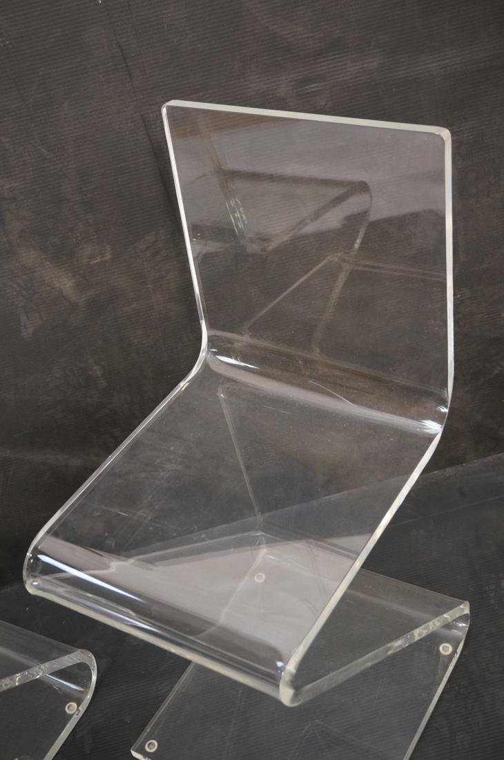 """2pc Modernist Clear Lucite """"Z"""" Chairs. - 8"""