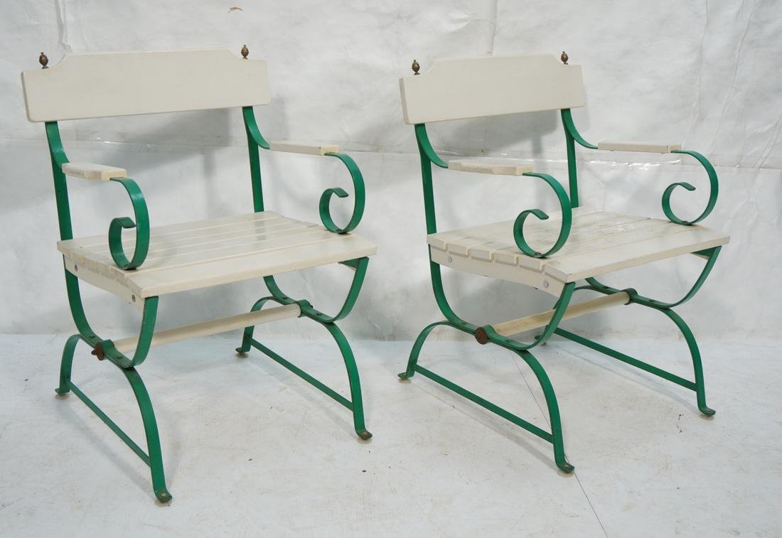 Pr Vintage Outdoor  Green Iron Arm Chairs. White