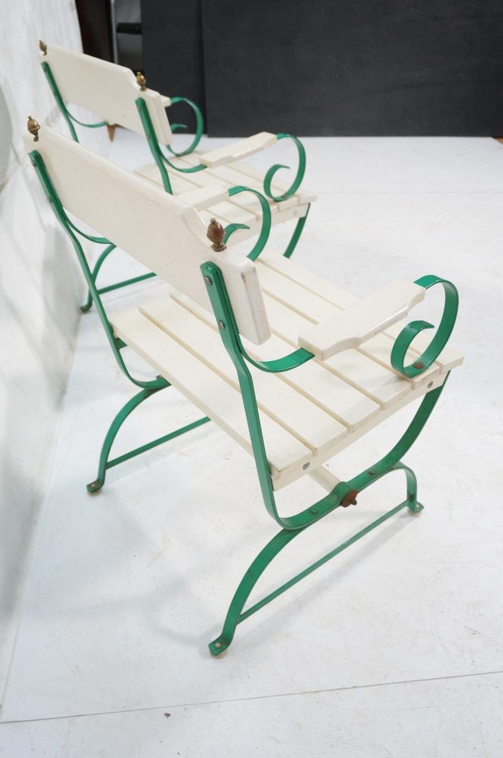 Pr Vintage Outdoor  Green Iron Arm Chairs. White - 2