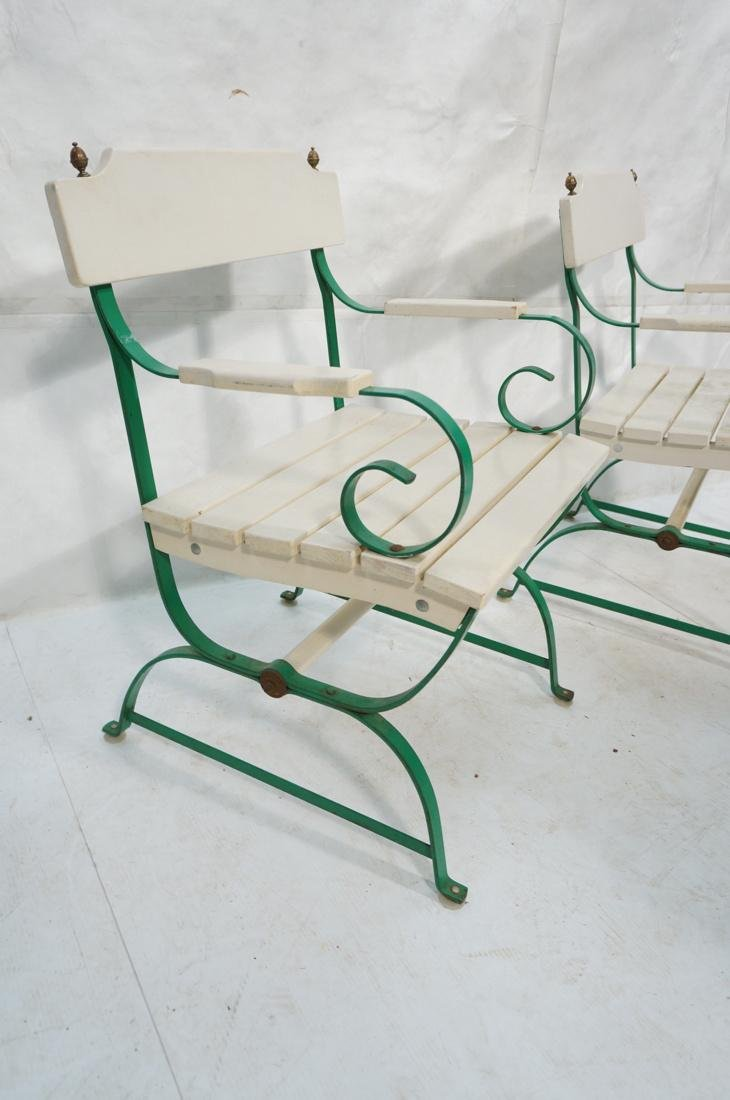 Pr Vintage Outdoor  Green Iron Arm Chairs. White - 3