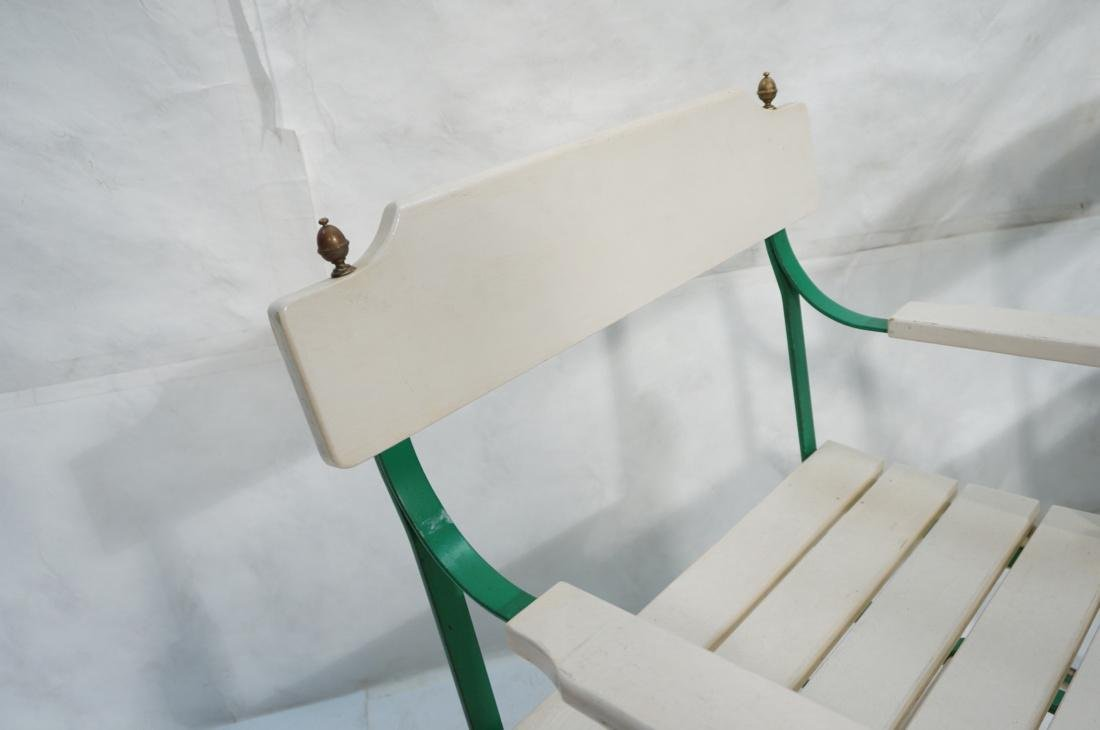Pr Vintage Outdoor  Green Iron Arm Chairs. White - 6
