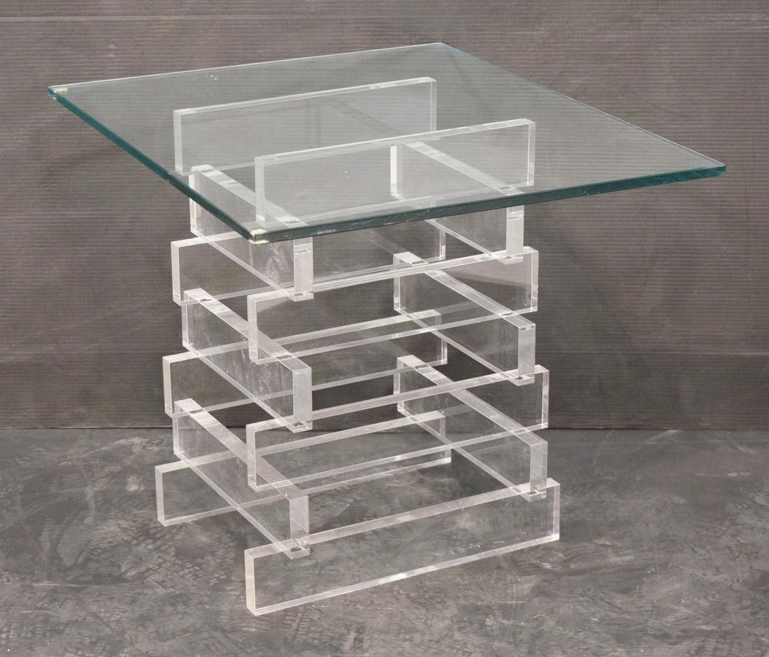 Stacked Lucite Glass Top Side Table. Square 1/2""