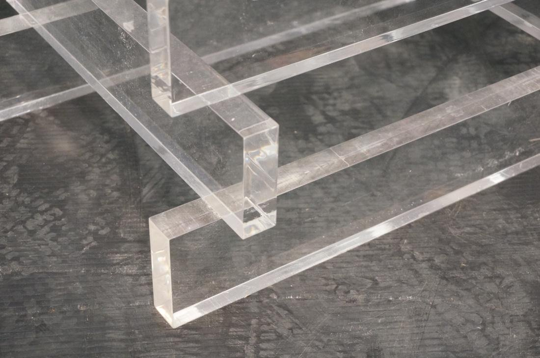 "Stacked Lucite Glass Top Side Table. Square 1/2"" - 2"
