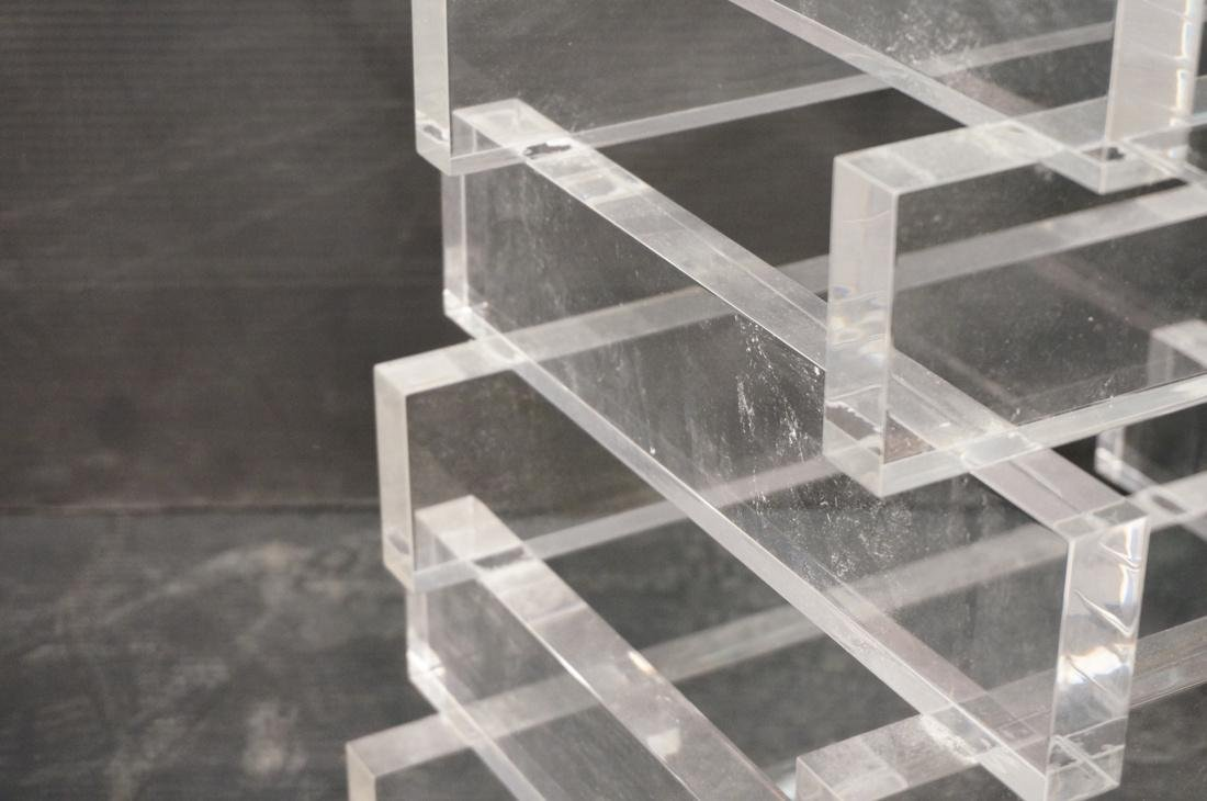 "Stacked Lucite Glass Top Side Table. Square 1/2"" - 3"