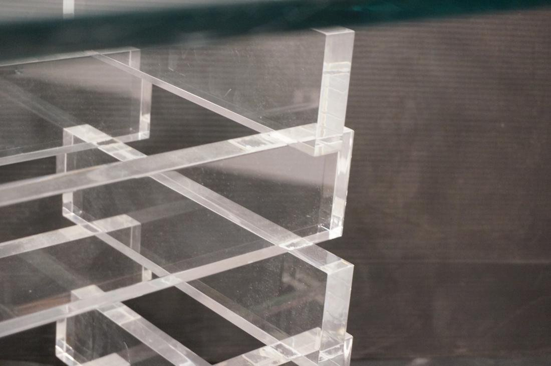 "Stacked Lucite Glass Top Side Table. Square 1/2"" - 4"