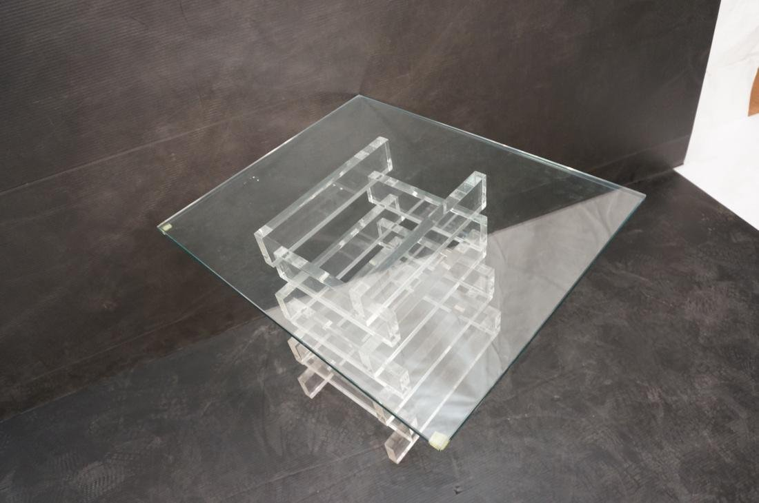 "Stacked Lucite Glass Top Side Table. Square 1/2"" - 5"