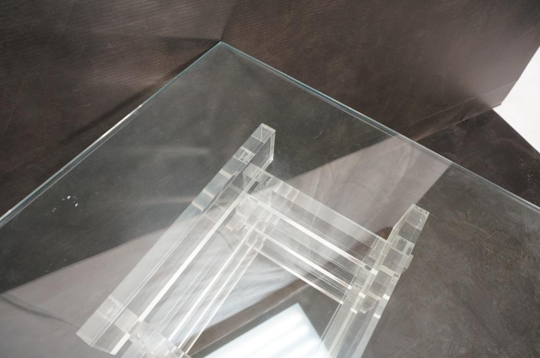"Stacked Lucite Glass Top Side Table. Square 1/2"" - 6"