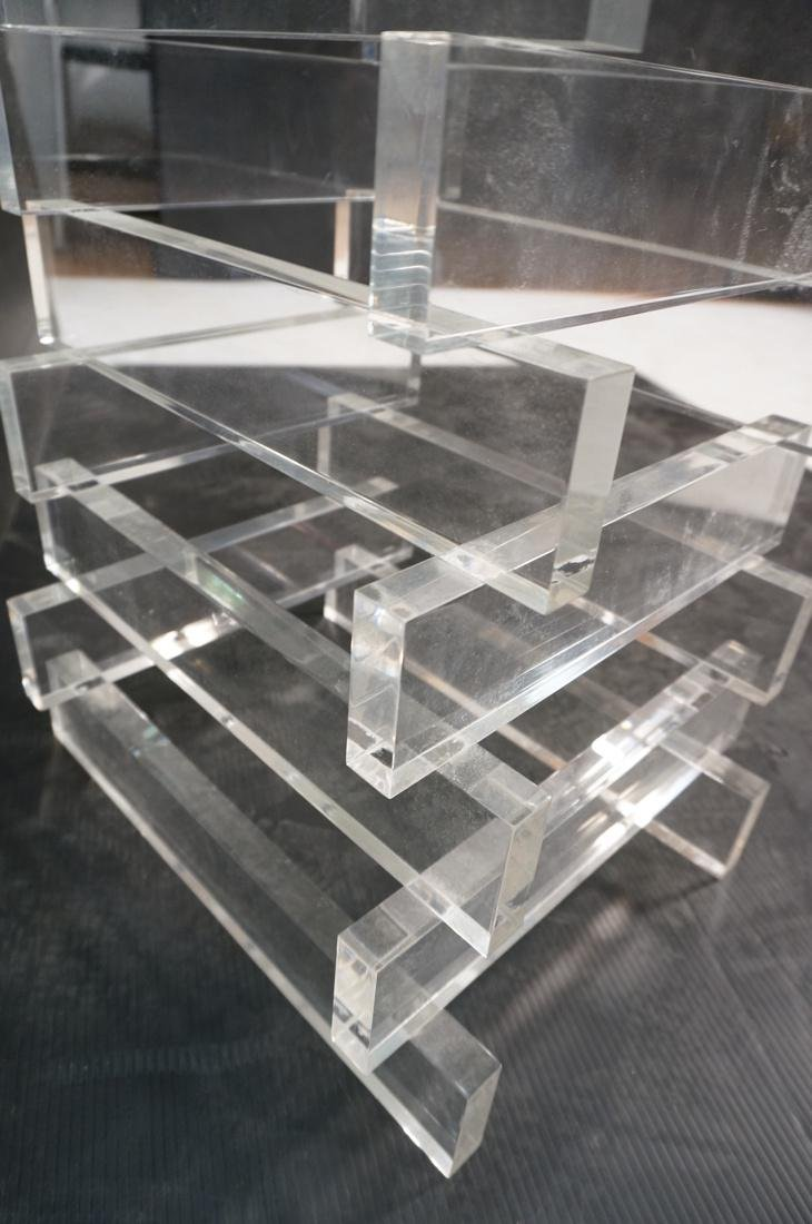 "Stacked Lucite Glass Top Side Table. Square 1/2"" - 7"