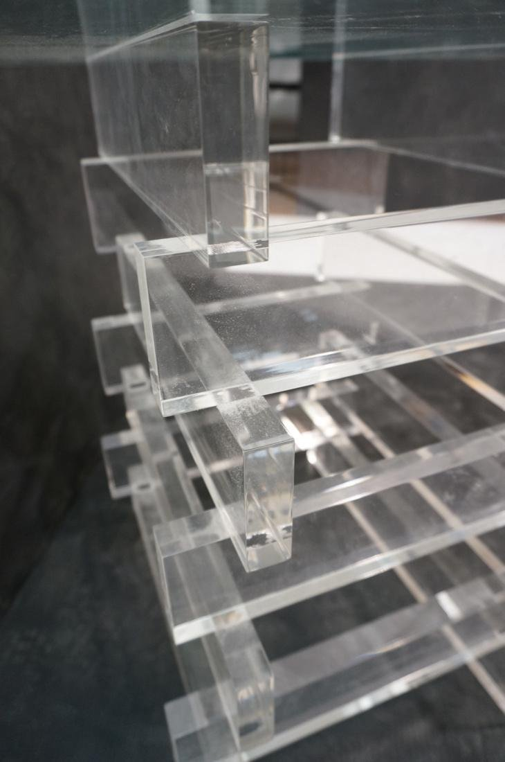 "Stacked Lucite Glass Top Side Table. Square 1/2"" - 8"