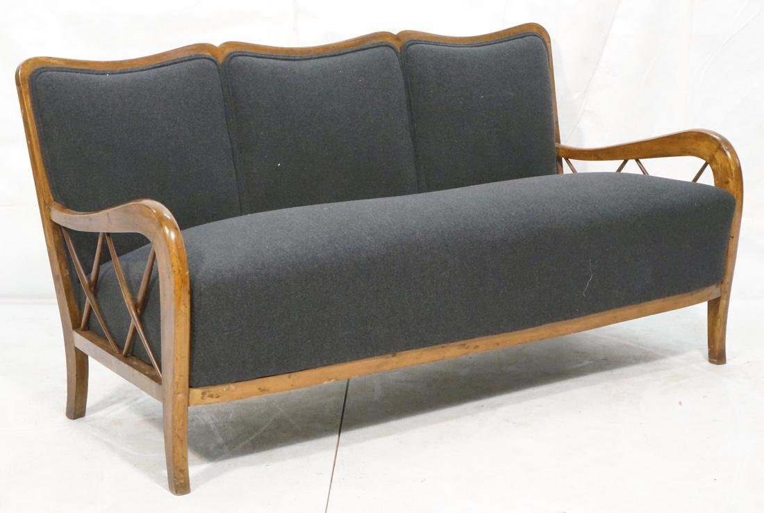 Paolo Buffa Attributed Sofa Couch.  Gray Flannel