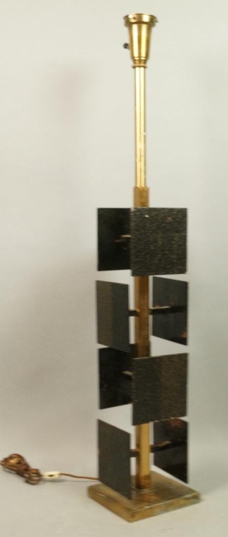 Brutalist Black Metal Panel Brass Column Lamp. Te