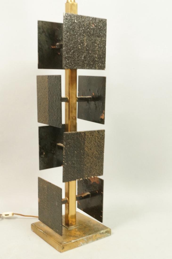 Brutalist Black Metal Panel Brass Column Lamp. Te - 2