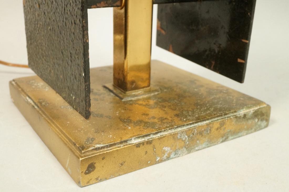Brutalist Black Metal Panel Brass Column Lamp. Te - 3