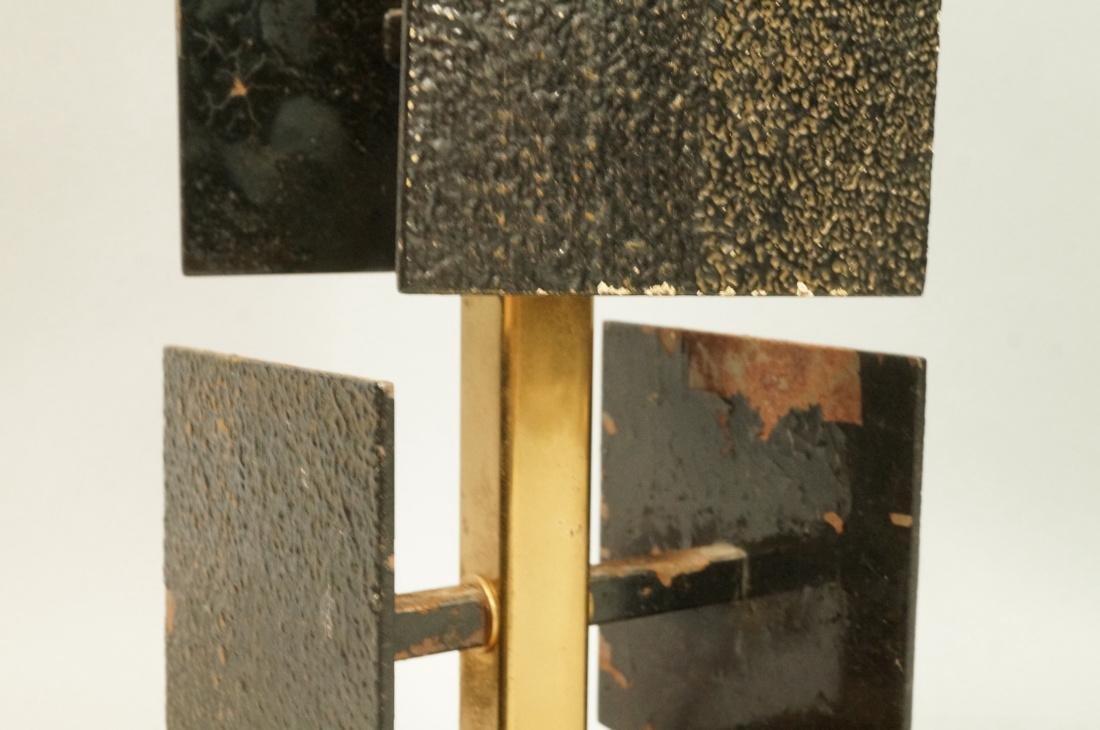 Brutalist Black Metal Panel Brass Column Lamp. Te - 4